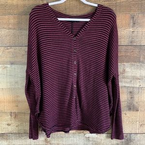 Out From Under button front striped top Sz medium
